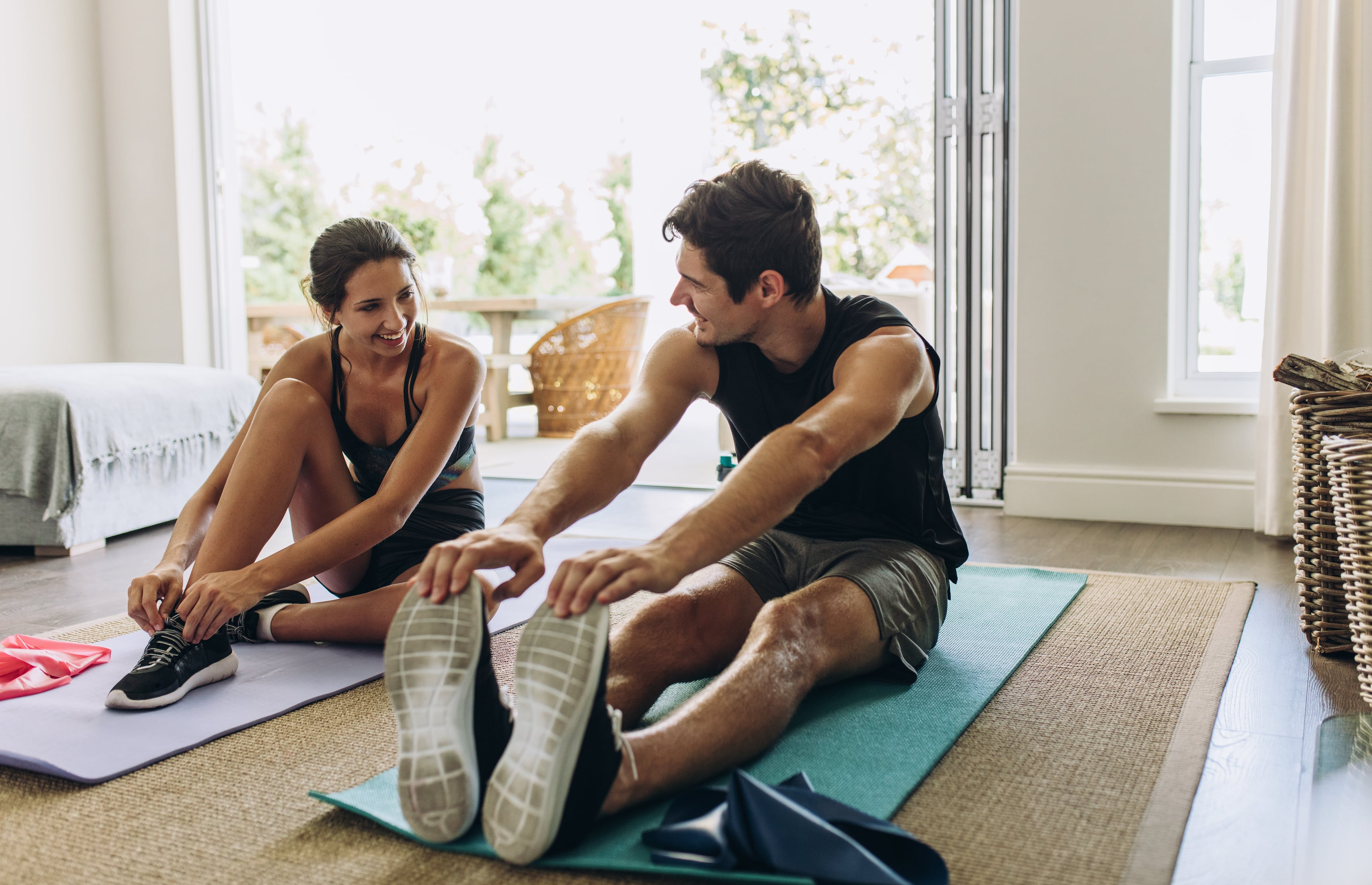 Couple exercising together.
